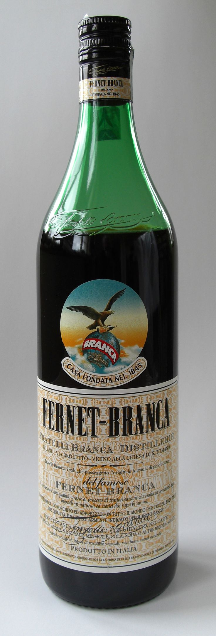 Fernet - Branca  Fernet is usually served as a digestif after a meal but may also be served with coffee and espresso or mixed into coffee and espresso drinks. In Argentina it is commonly mixed with Coca Cola. It typically contains 45% alcohol by volume. It may be served at room temperature or on the rocks (with ice) source http://en.wikipedia.org/wiki/Fernet