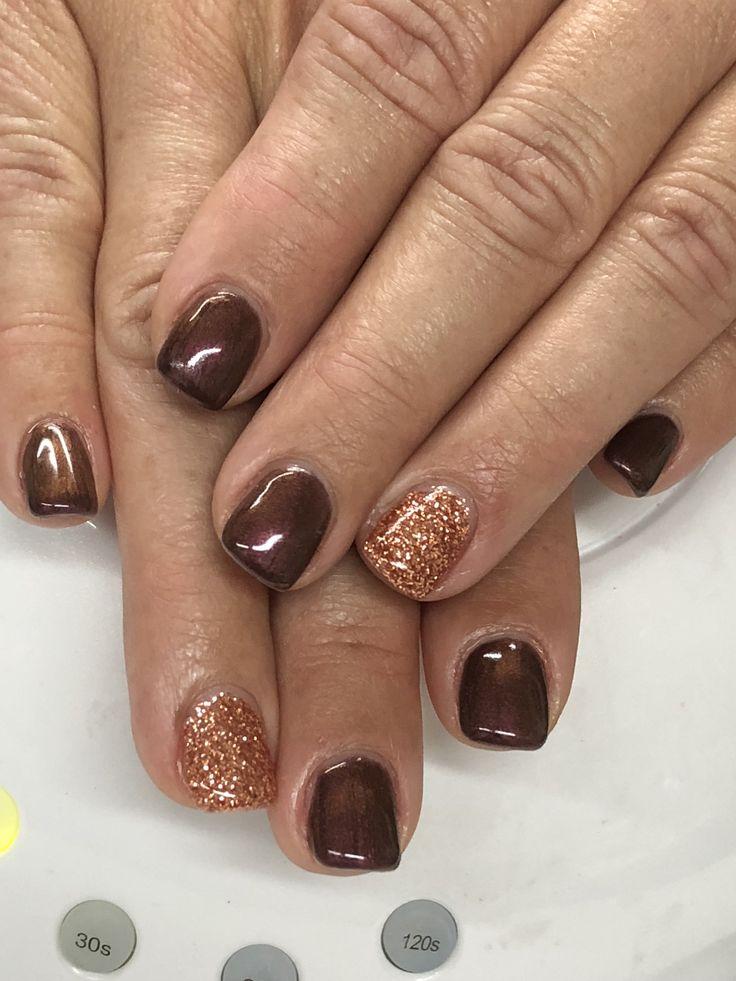 fall brown cinnamon glitter gel