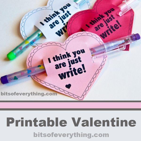 Just Write Printable Valentine
