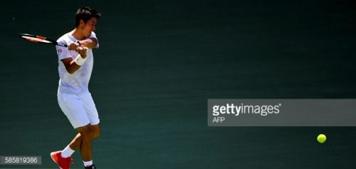 Japan's Kei Nishikori practices during a training session... #moeciudejos: Japan's Kei Nishikori practices during a training… #moeciudejos