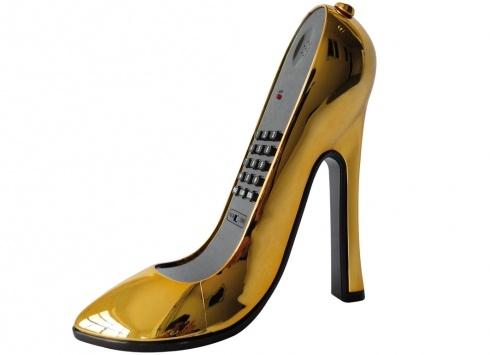 JB JENNY'S BEDROOM TELEFONO TACCO 12 ORO. Telefono fashion a forma  scarpa con tacco alto di color oro metallizzato con  cavo telefonico estendibile, piedini antiscivolo alla base.