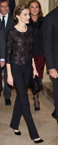 "5 Nov 2014. Delivery of ""Francisco Cerecedo"" Journalism Award. Her Majesty wore a black slim trousers paired with a black sheer sequin blouse from Felipe Varela, a piece she premiered at the Prince of Asturias Awards in 2012."