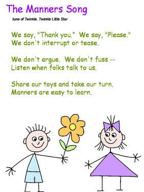 Manners Song- Great for choral singing/ reading!  (Free - in both color and black and white  - thanks to DLTK's Crafts for Kids.)