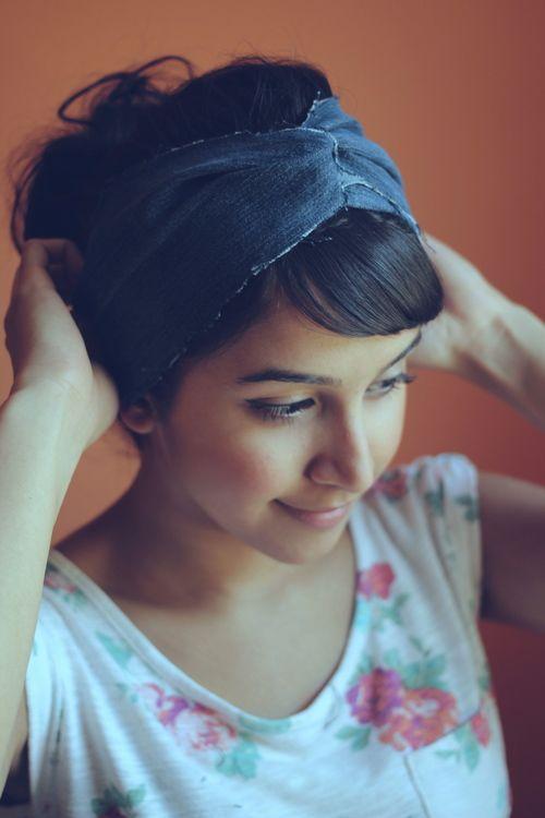 DIY denim headband.