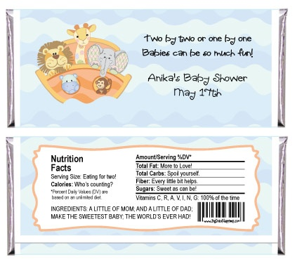 Noah S Ark Wrapper Personalized Candy Bar Wrapper Baby