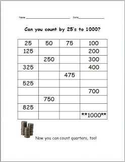 FREE counting by 25's ... great for discovering patterns!