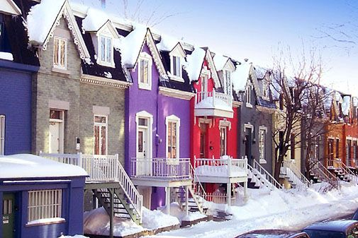 Colorful homes of Rue Drolet in Montreal