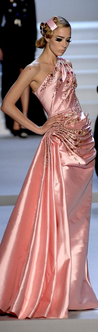 Christian Dior  Long Pink Satin Dress // Ohhh... I would wear this ANYwhere.
