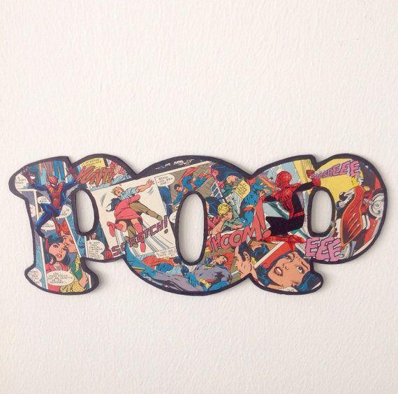 Batman comics books, collage Batman et Spiderman, lettres décoratives, décoration chambre d'enfant, déco enfant, collage original POP.