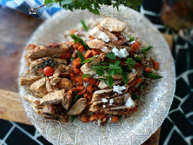 Warm Cajun Chicken Salad     Sweetly scented, chicken baked in Cajun spices and mixed into a quinoa and vegetable salad.