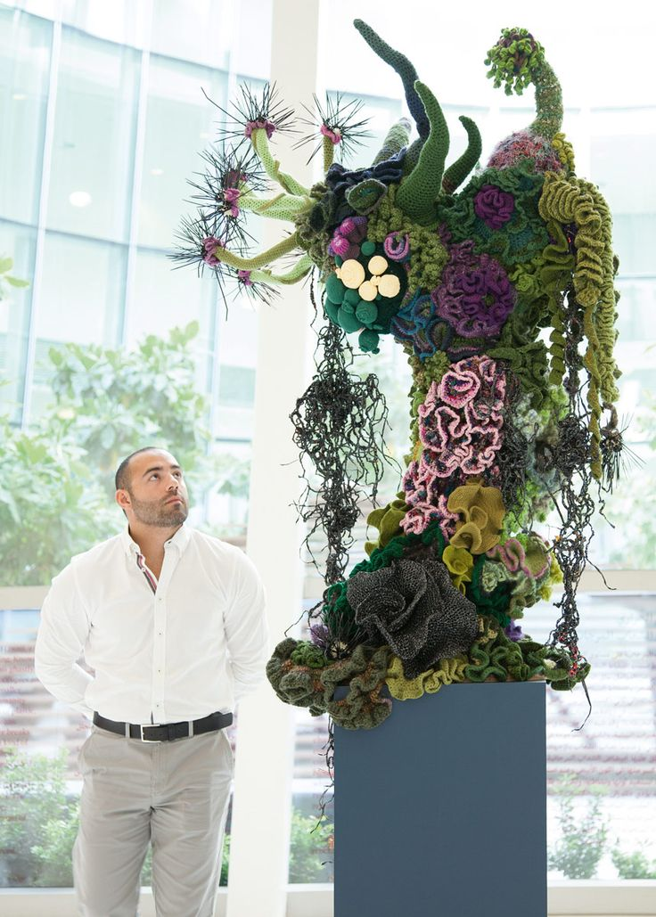 Coral Forest: Medusa, at the New York University Abu Dhabi Institute, UAE, 2014. Featuring spiral horns and tube worms by the Scottsdale Reefers and video tape danglers by Christine Wertheim. Crochet Coral Reef