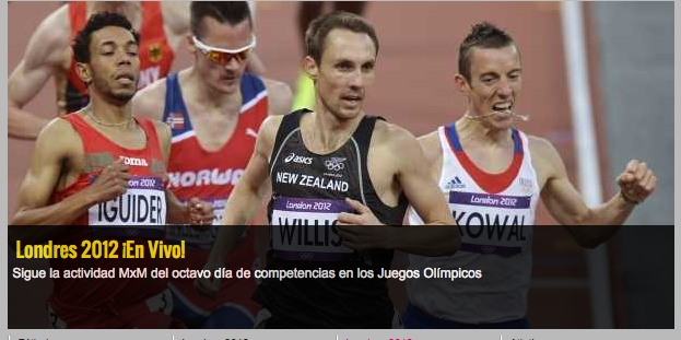 408d: Action shot of four male runners during a race. No Mexican participants evident. Individual athletes show determination and power and the lead man shows confidence. The image is tightly cropped to the four lead actors, a runner in the background has been cut at the neck.
