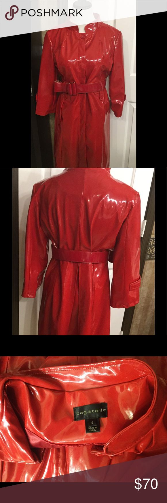Bagatelle Fashion Red RAIN coat ☔️ Super cute Fashionable rain coat! button front. hidden side pockets. red satin lining.figure flattering. Belt dose not come with you can accessorize any way you wish. Perfect condition like New ❤️❤️❤️ Bagatelle Jackets & Coats Trench Coats