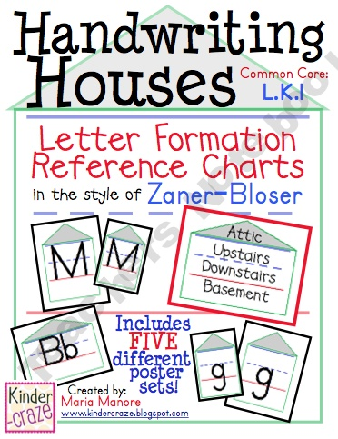 Handwriting Houses Letter Formation Reference Charts for