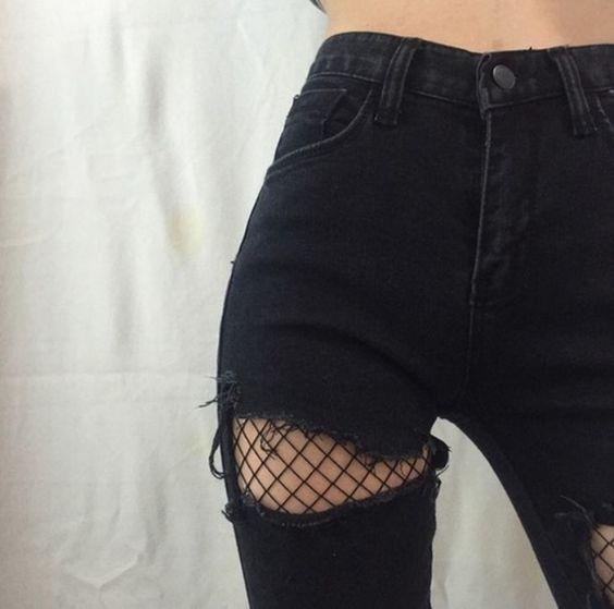 Wear For Love Inspired FISHNET TREND; Streetstyle, Black, Fishnet, Black Ripped …
