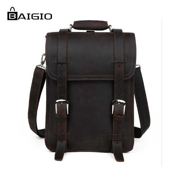 "127.50$  Buy now - http://ali7iv.worldwells.pw/go.php?t=32619571467 - ""Baigio Men Genuine Leather Bag Brand Designer Messenger Bags 14"""" Laptop Bag cases Vintage Style Backpack Messenger Bag Handbag"""