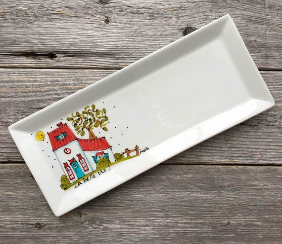 Decoration or serving Plate Porcelain, Country house, Beautiful life, country style plate, Hand painted