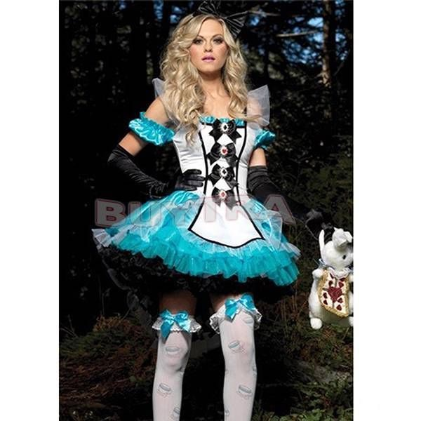US Seller Maid Wench Halloween Costume Alice In Wonderland Adult Fancy Dress Up