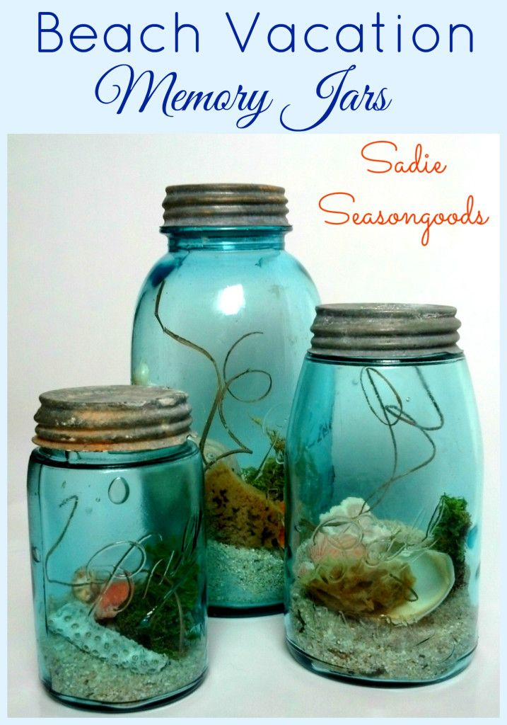 Vintage or antique aqua mason jars with bubbles in the glass look just like the ocean, so why not fill them with treasures from your summer beach vacation? A little sand...some seashells...maybe a sponge or piece of coral? The perfect summer craft for coastal decor. #SadieSeasongoods