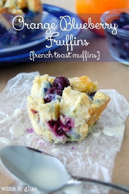 The delicious flavors of orange & blueberry conveniently packaged in a muffin form, but made from french toast!  Smothered with orange glaze.. via www.wineandglue.com