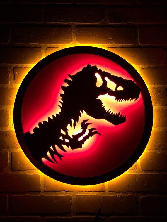 New Jurassic Park Illuminated Led Neon Backlit Tyranosaurus Etsy In 2020 Jurassic Park Jurassic Room New Jurassic Park