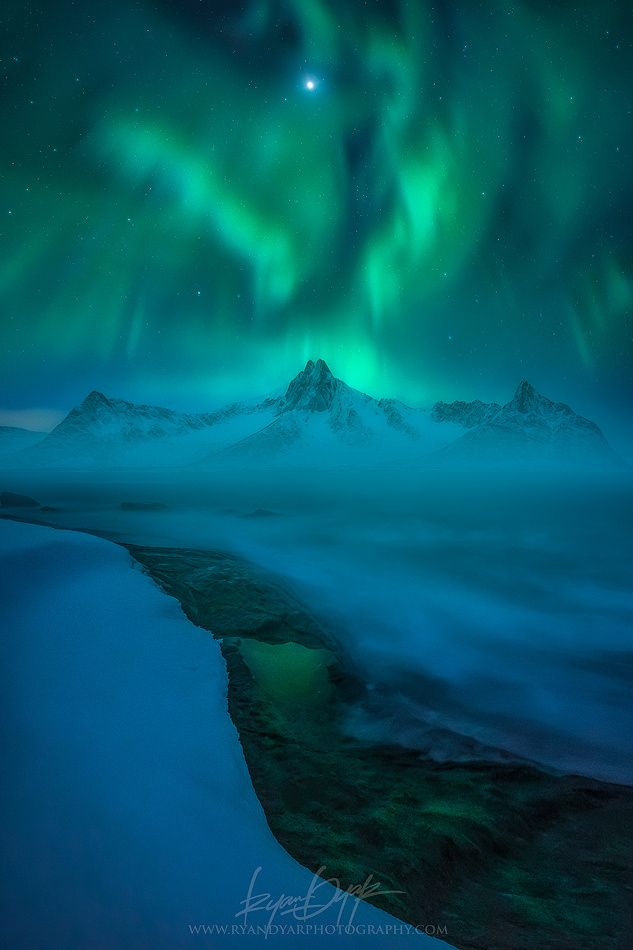 travelgurus:     Outstanding Photo of The Aurora above Lofoten , Nordland, Norway                          by Ryan Dyar  It`s known for a distinctive scenery with dramatic mountains and peaks, open        sea and sheltered bays, beaches and untouched lands.          Travel Gurus - Follow for more Nature Photographies!