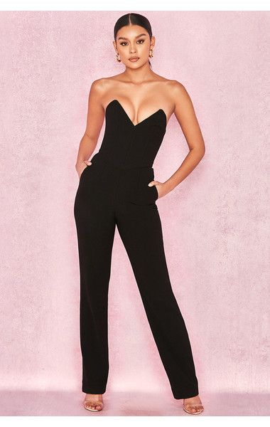 4c8a5042013e Lucille Black Crepe Boned Strapless Jumpsuit