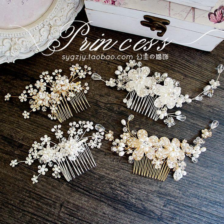 Европейский стиль головной убор ручной работы из бисера расческа изысканный минималистский невесты Кристалл Свадебные украшения - Taobao
