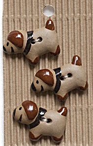 5 Puppy Dog Buttons, Handmade, Fully Washable, Incomparable Buttons, ButtonMad by IncomparableButtons on Etsy