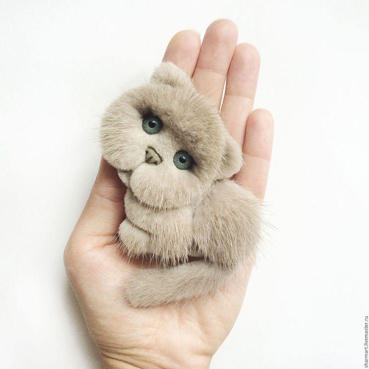 Купить Норковая брошка Котик - серый, брошка, котик, брошь кот, шотландский, необычное украшение