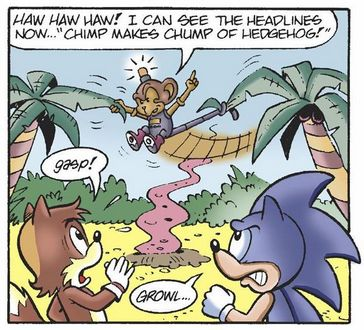 Monkey puns. Monkey puns everywhere. And when was Sonic starting to transform into Homer Simpson?