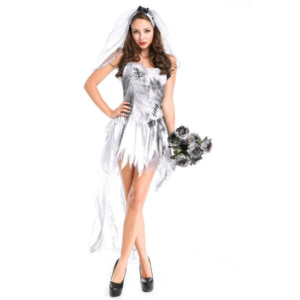 Halloween Ghost Bride Vampire Zombie Cosplay Outfit ($29) ❤ liked on Polyvore featuring costumes, zombie costume, sexy halloween costumes, vampire bride costumes, sexy vampire costume and sexy role play costumes
