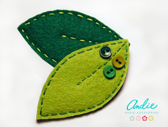 handmade with love :)  Felt leaves brooch