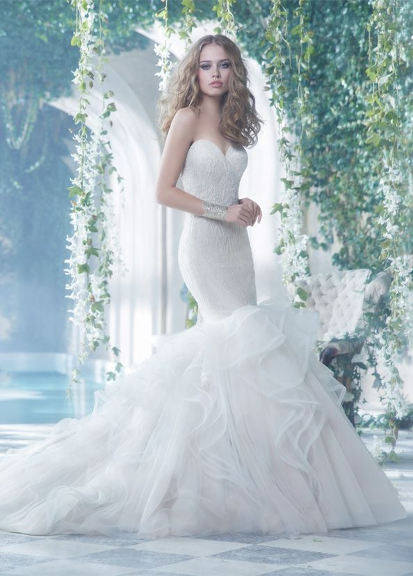 Beaded and embroidered strapless sweetheart gown by Alvina Valenta Bridal Gowns // via JLM Couture.