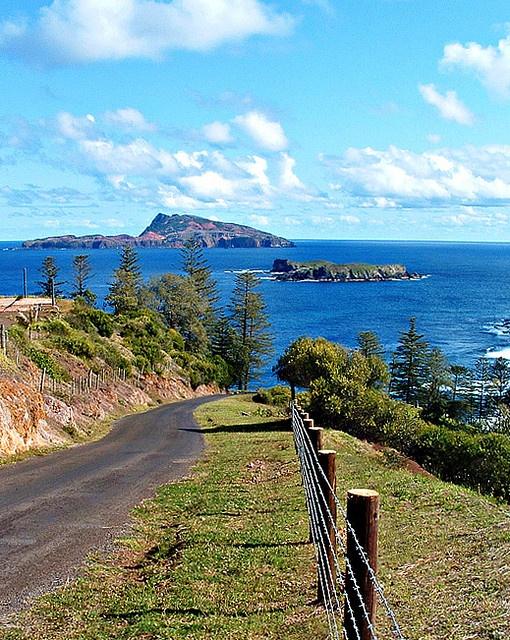 Norfolk Island view to Phillip Island, South Wales, Australia