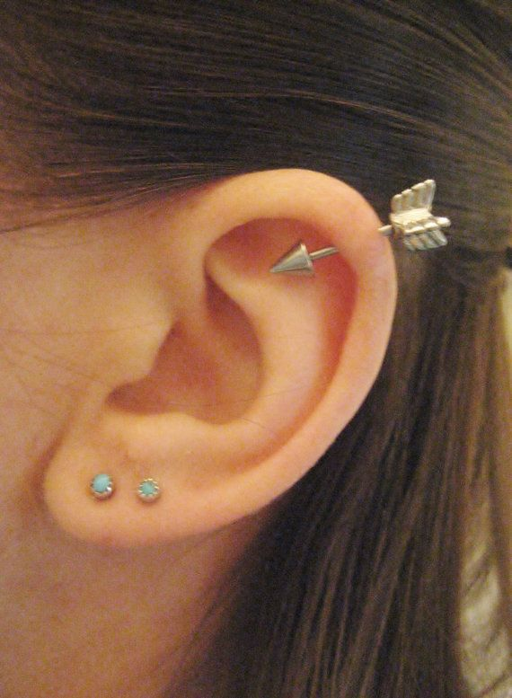 16 Gauge Arrow Helix Piercing Earring Stud Post by Azeetadesigns