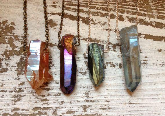 AURORA / Raw Crystal Layering Necklace - Rough Druzy Quartz Pendant - RAINBOW Titanium Aura - You Choose Stone & Chain - Gift, SALE. $22.00, via Etsy.