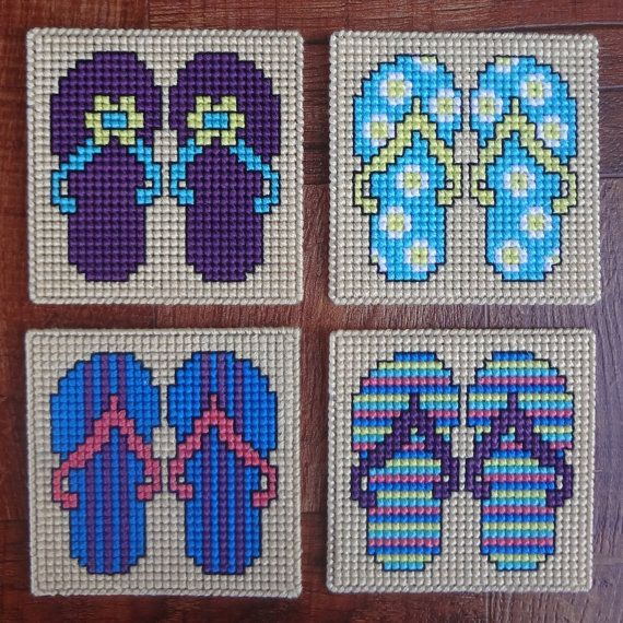 Flip Flops Summer Coasters Plastic Canvas Cross by Hunibears, $5.00