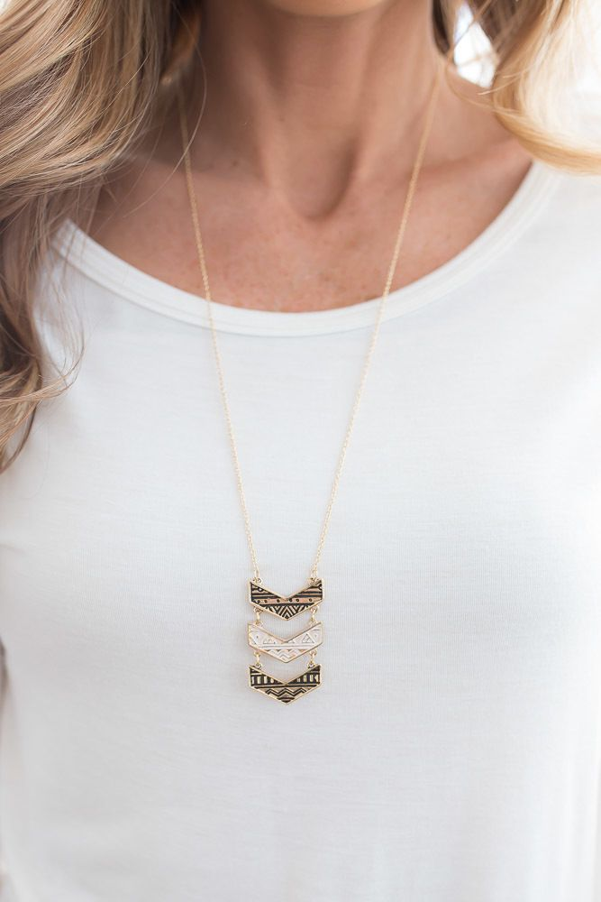 Shop our  Engraved Chevron Necklace in Gold. Pair with a little black dress and high heel for a chic look. Always free shipping on all US orders.