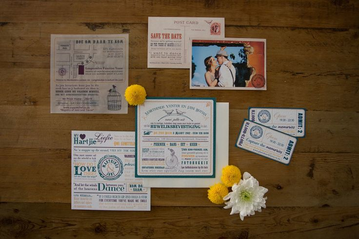 Teal, yellow and grey picnic wedding suite. Vintage postcard save-the-dates. Photo booth tickets. Design by Lorraine Evert. Photo by Rikki Hibbert.