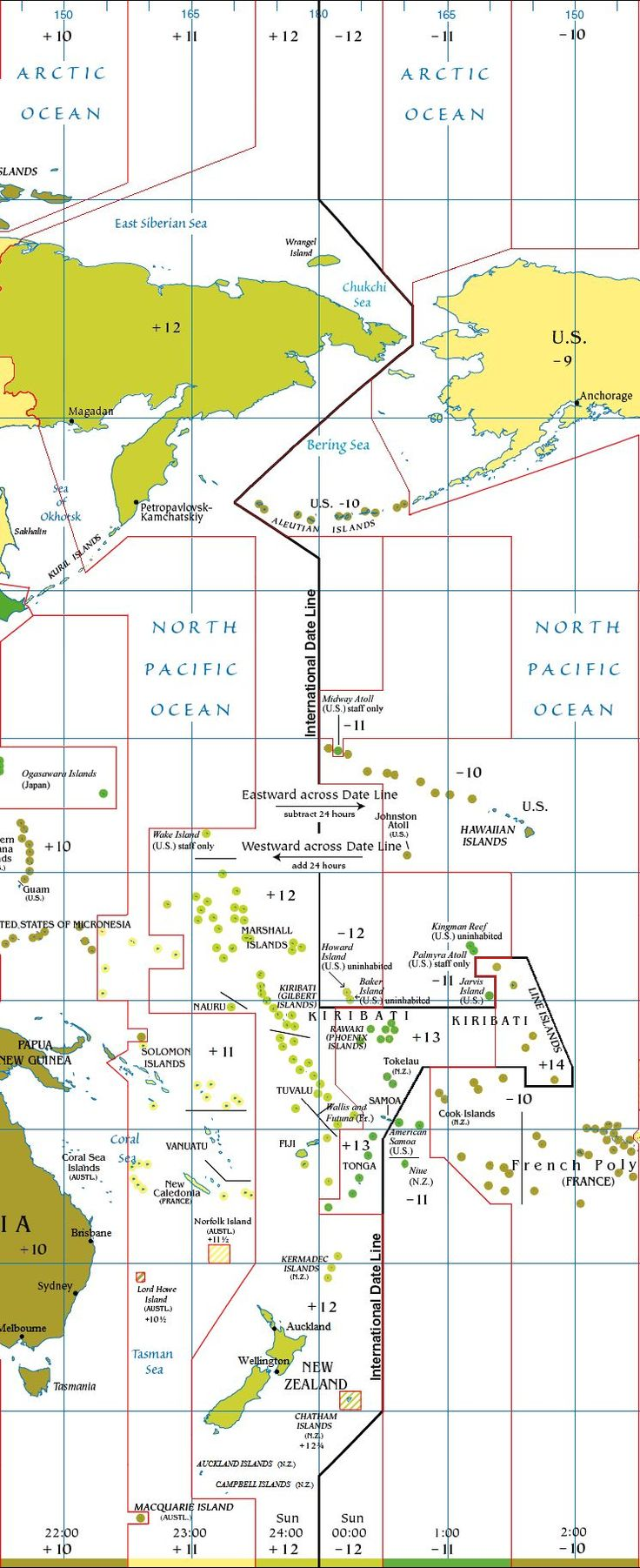 International date line map in Australia