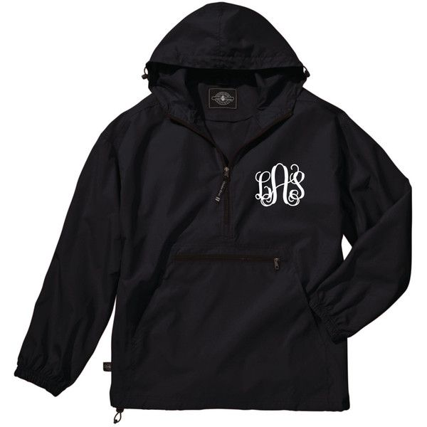 Black Lightweight Pack-N-Go Rain Jacket Monogrammed Personalized Half... ($28) ❤ liked on Polyvore featuring outerwear, jackets, tops/outerwear, 1/2 zip pullover, lightweight jacket, monogrammed pullover jacket, sweater pullover and light weight rain jacket