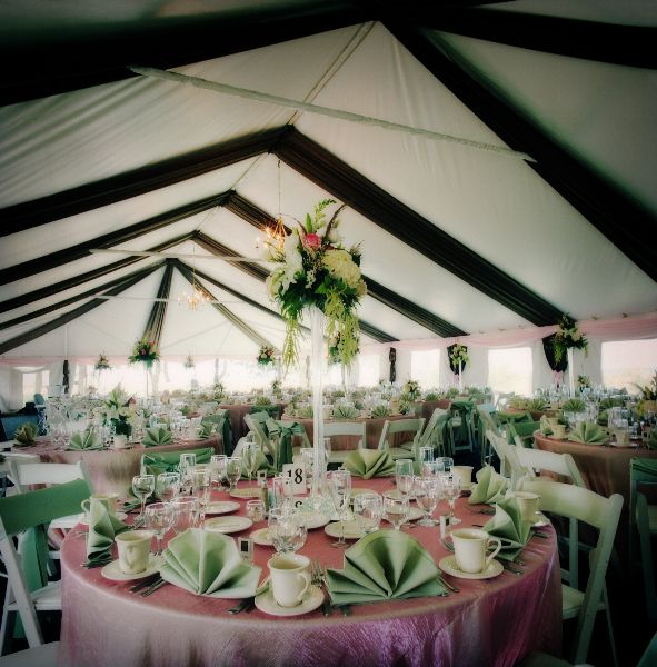Brown And Pink Wedding Ceiling Swags In Tent