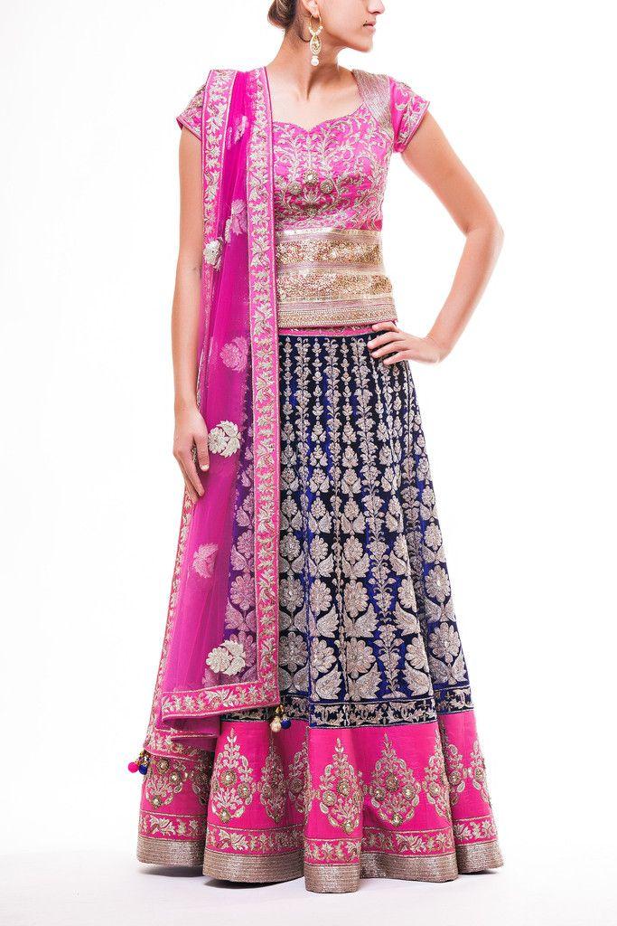 Hot Pink Choli with Chandan Pitta work jaal work paired with 16 Panel Pitta Work Lehenga