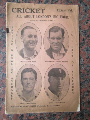Antique Cricket Book 1928 Cricket All About Londons Big Four Robin Baily