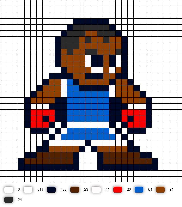 Balrog Street Fighter 2 Perler Bead Pattern