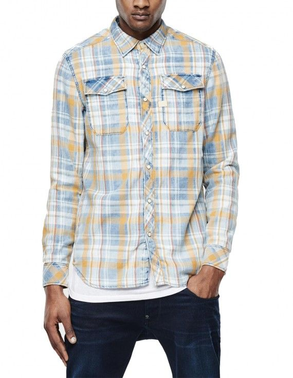 LIGHT BLUE CHECK SHIRT WITH CHEST POCKETS