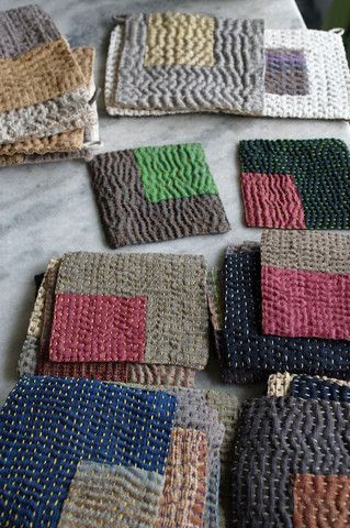 kantha joy...would be cute colors for Rothko-esque knitted dishcloths!