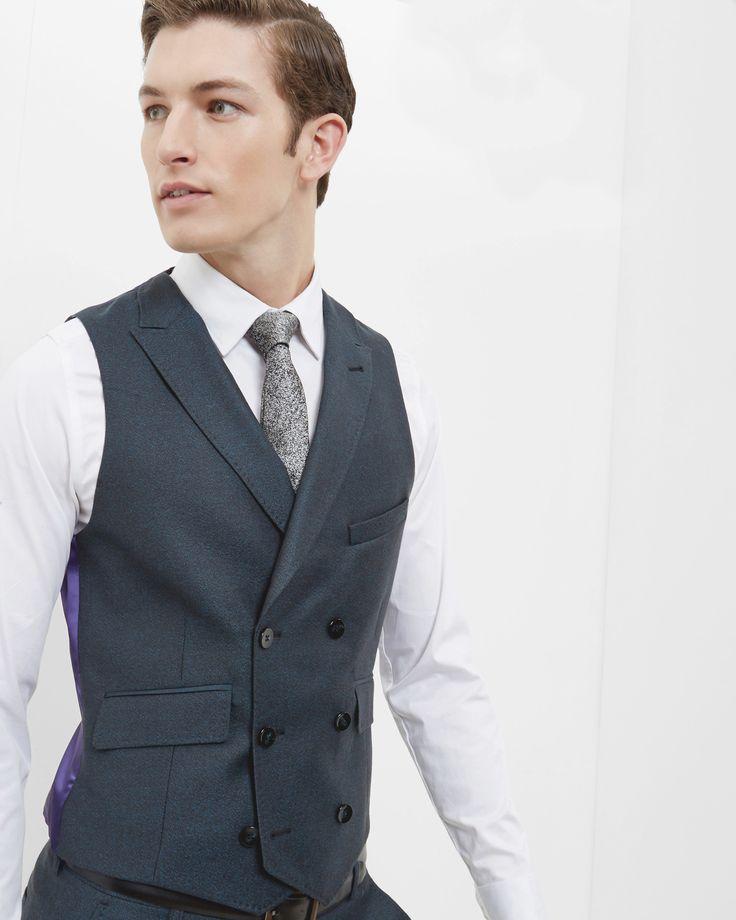Debonair wool waistcoat - Teal   Suits   Ted Baker ROW Around $160.