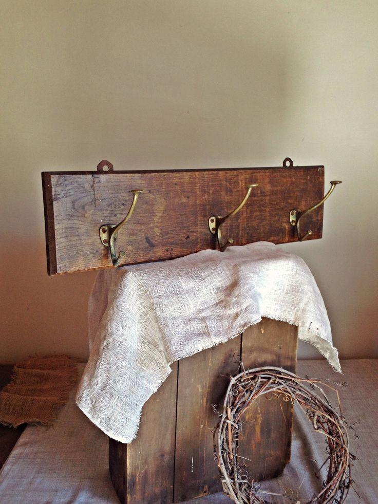 Antique Coat Rack Vintage Wall Hanger Wood And Metal Hooks Rustic Home